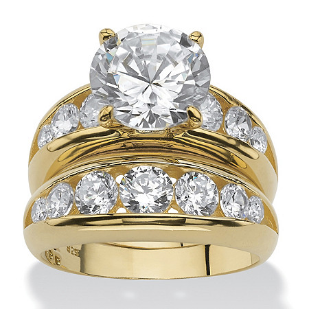 6.09 TCW Round Cubic Zirconia Two-Piece Bridal Ring Set in 14k Gold over Sterling Silver at PalmBeach Jewelry