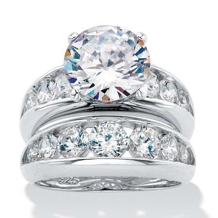 2 Piece 6.09 TCW Round Cubic Zirconia Bridal Ring Set in Sterling Silver at Direct Charge presents PalmBeach