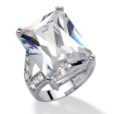 27.10 TCW Emerald-Cut Cubic Zirconia Engagement Anniversary Ring in Platinum over Sterling Silver at PalmBeach Jewelry