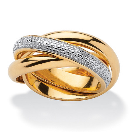 Diamond Accent 18k Gold over Sterling Silver Two-Tone Triple Band Rolling Ring at PalmBeach Jewelry