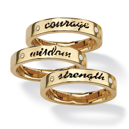 Round Crystal 14k Yellow Gold-Plated Set of Three Inspirational Stack Rings at PalmBeach Jewelry