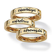 Round Crystal 14k Yellow Gold-Plated Set of Three Inspirational Stack Rings