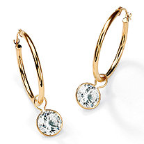 4 TCW Cubic Zirconia 10k Yellow Gold Bezel-Set Removable Charm Earrings