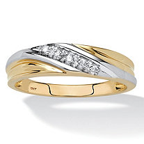 Men's 1/10 TCW Round Diamond Two-Tone 10k Gold Diagonal Wedding Band Ring