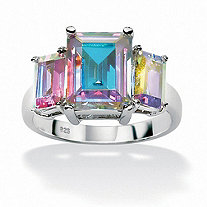Emerald-Cut Aurora Borealis Cubic Zirconia Cocktail Ring 5.60 TCW in Sterling Silver