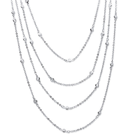 "2.94 TCW Round Cubic Zirconia Silvertone Waterfall Necklace 100"" at PalmBeach Jewelry"
