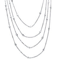2.94 TCW Round Cubic Zirconia Silvertone Waterfall Necklace 100""