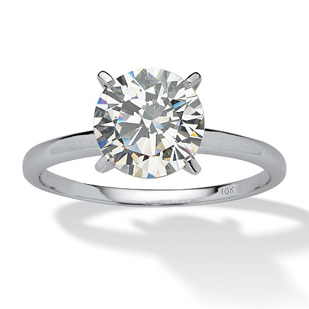 2 TCW Round Cubic Zirconia Solitaire Ring in Solid 10k White Gold at PalmBeach Jewelry