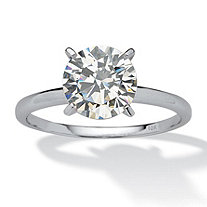 2 TCW Round Cubic Zirconia Solitaire Ring in Solid 10k White Gold