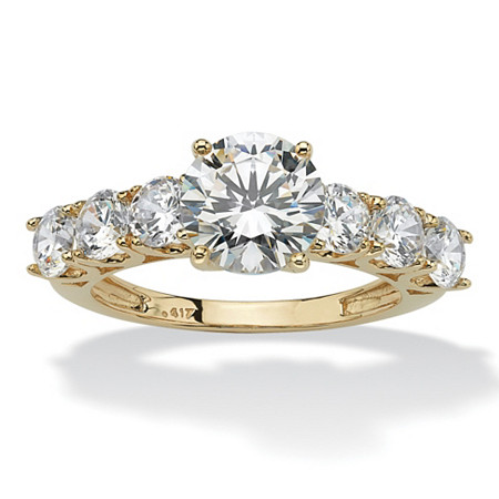 Round Cubic Zirconia Engagement Ring 3.50 TCW in Solid 10k Yellow Gold at PalmBeach Jewelry