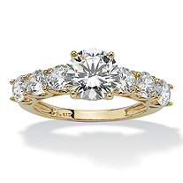 SETA JEWELRY 3.50 TCW Round Cubic Zirconia Ring in 10k Gold