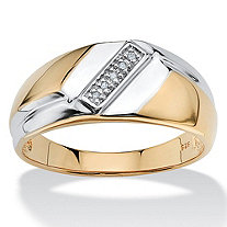 Men's Diamond Accent Two-Tone 18k Gold over Sterling Silver Diagonal Ring