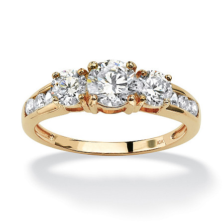 Round Cubic Zirconia Engagement Anniversary Ring 1.89 TCW in Solid 10k Gold at PalmBeach Jewelry