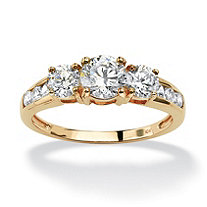 Round Cubic Zirconia Engagement Anniversary Ring 1.89 TCW in Solid 10k Gold