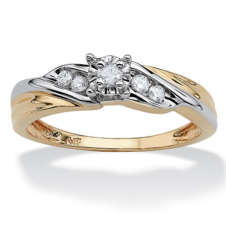 1/8 TCW Round Diamond Two-Tone Diagonal Engagement Ring in Solid 10k Gold at PalmBeach Jewelry