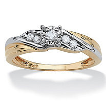 1/8 TCW Round Diamond Two-Tone Diagonal Engagement Ring in 10k Yellow Gold