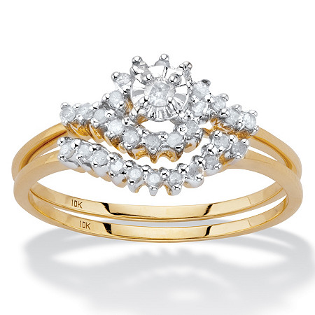 1/4 TCW Round Diamond 10k Yellow Gold Bridal Engagement Wedding Cluster Ring Set at PalmBeach Jewelry
