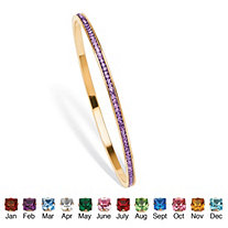 Birthstone Stackable Eternity Bangle Bracelet in Yellow Gold Tone