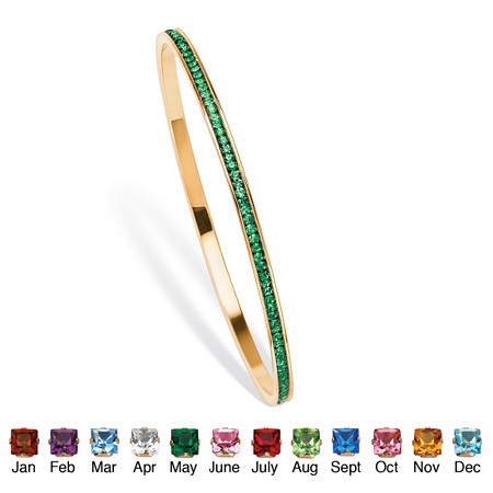 Birthstone Stackable Eternity Bangle Bracelet in Yellow Gold Tone at PalmBeach Jewelry
