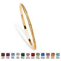 SETA JEWELRY Birthstone Stackable Eternity Bangle Bracelet in Yellow Gold Tone