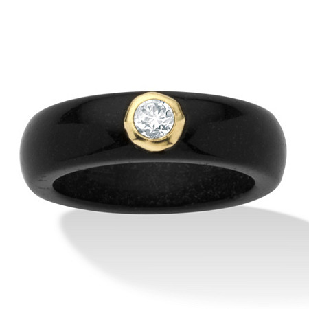 .30 TCW Round Genuine White Topaz and Genuine Black Jade 10k Yellow Gold Band Ring at PalmBeach Jewelry