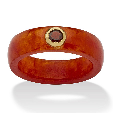 .30 TCW Round Genuine Garnet and Genuine Red Jade 10k Yellow Gold Band Ring at PalmBeach Jewelry