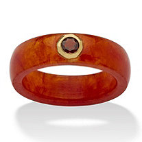 .30 TCW Round Genuine Garnet and Genuine Red Jade 10k Yellow Gold Band Ring