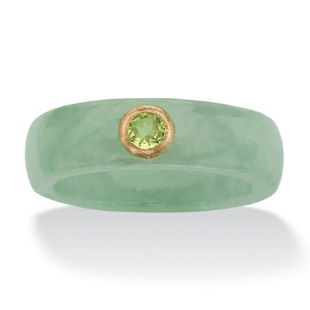 .26 TCW Round Genuine Peridot and Green Jade Ring in 10k Yellow Gold at PalmBeach Jewelry