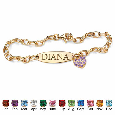 Personalized Birthstone I.D. Heart Charm Bracelet in 18k Yellow Gold over Sterling Silver at PalmBeach Jewelry