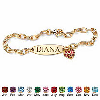 SETA JEWELRY Personalized Simulated Birthstone I.D. Heart Charm Bracelet in 18k Yellow Gold over Sterling Silver