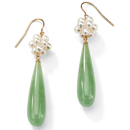 Jade and Cultured Freshwater Pearl Accent 10k Yellow Gold Drop Earrings at PalmBeach Jewelry
