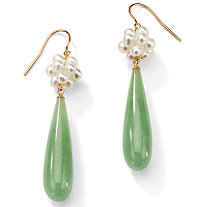 Jade and Cultured Freshwater Pearl Accent 10k Yellow Gold Drop Earrings