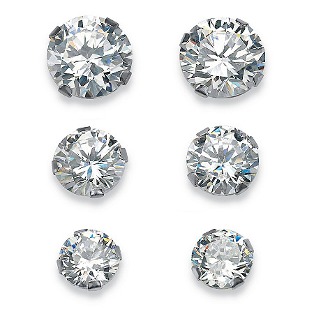 5.15 TCW Round Cubic Zirconia 10k White Gold Stud 3-Pairs Earrings Set at PalmBeach Jewelry