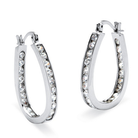 "2.52 TCW Round Cubic Zirconia Silvertone Inside-Out Channel-Set Hoop Earrings (1"") at PalmBeach Jewelry"