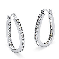 "2.52 TCW Round Cubic Zirconia Silvertone Inside-Out Channel-Set Hoop Earrings (1"")"