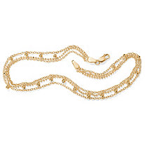 Triple-Strand Beaded Ankle Bracelet in 18k Gold over Sterling Silver