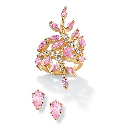 3.40 TCW Marquise-Cut Pink Cubic Zirconia Leaf Ring BOGO Pink CZ Stud Earrings at PalmBeach Jewelry