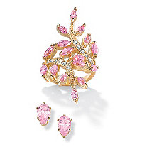 5.02 TCW Marquise-Cut Pink Cubic Zirconia Leaf Ring BOGO Pink CZ Stud Earrings