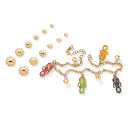 14k Gold-Plated Austrian Crystal Ankle Bracelet with FREE Six-Pair Set of Stud Earrings at PalmBeach Jewelry