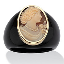 Oval-Shaped Genuine Shell Cameo Genuine Onyx 10k Yellow Gold Classic Cameo Ring