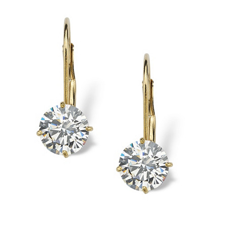 2.15 TCW Round Cubic Zirconia 10k Yellow Gold Lever-Back Drop Earrings at PalmBeach Jewelry