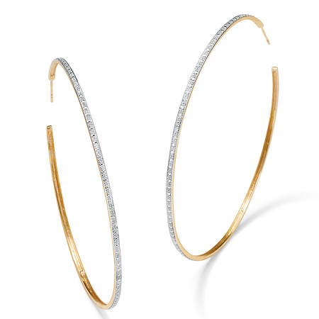 "Diamond Accent Hoop Earrings in 18k Gold over Sterling Silver (2 1/3"") at PalmBeach Jewelry"