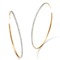 "Diamond Accent Hoop Earrings in 18k Gold over Sterling Silver (2 1/3"")"