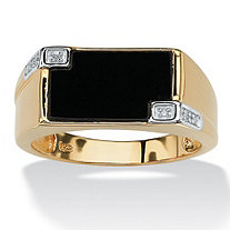 Men's Genuine Onyx and Diamond Accent Rectangular Ring in 14k Gold over .925 Sterling Silver