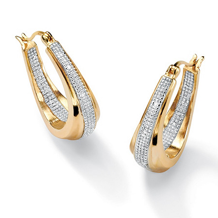 "Diamond Accent 18k Gold over Sterling Silver Oval-Shaped Inside-Out Hoop Earrings (1"") at PalmBeach Jewelry"