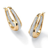 "Diamond Accent 18k Gold over Sterling Silver Oval-Shaped Inside-Out Hoop Earrings (1"")"