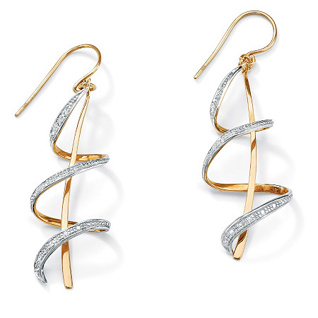 Diamond Accent 18k Gold over Sterling Silver Ribbon Drop Earrings at PalmBeach Jewelry