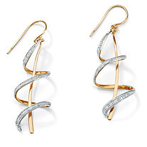 SETA JEWELRY Diamond Accent 18k Gold over Sterling Silver Ribbon Drop Earrings