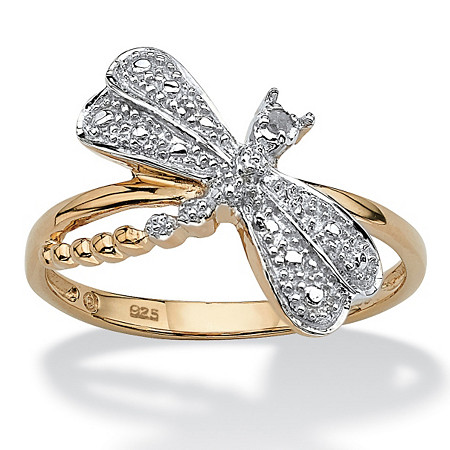 Diamond Accent 18k Gold over Sterling Silver Dragonfly Ring at PalmBeach Jewelry