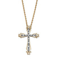 Diamond Accent Cross Pendant Necklace in 18k Gold over Sterling Silver 18""